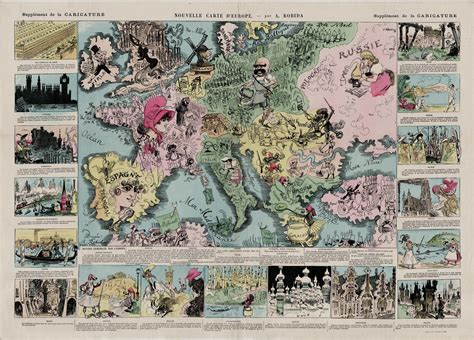 Comic map of Europe, playing on cultural and national