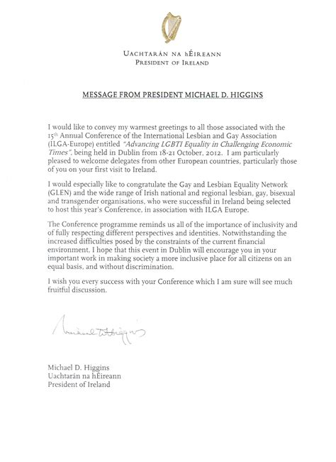 Message of support from the President of Ireland | ILGA-Europe