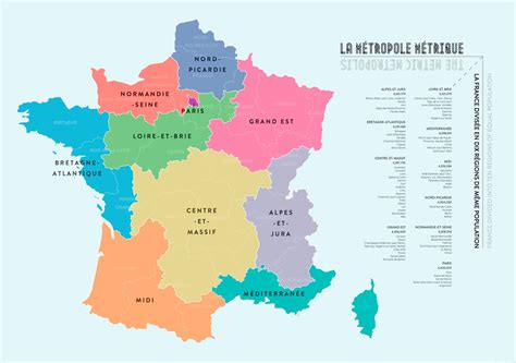French regions divided into equal populations