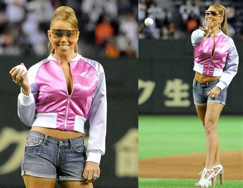 Mariah Carey Throws the Ceremonial First Pitch for a