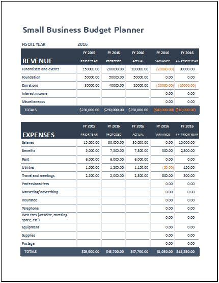Small Business Budget Planning Sheet for MS Excel | Excel