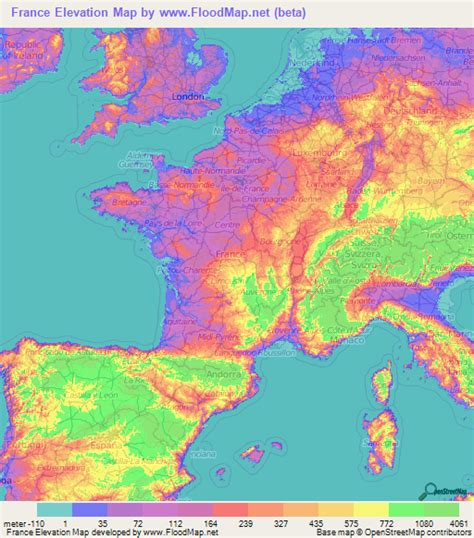 France Elevation and Elevation Maps of Cities, Topographic