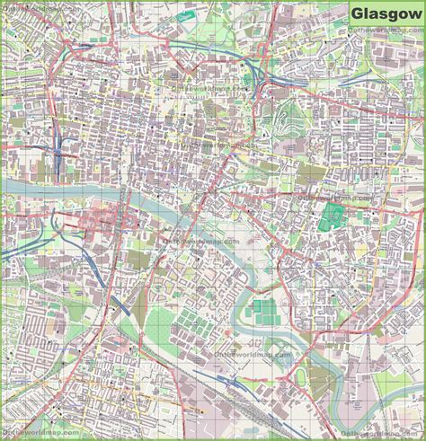 Large detailed map of Glasgow