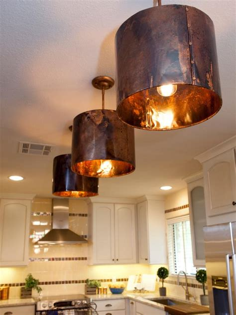 White Kitchen With Copper Light Fixtures   HGTV