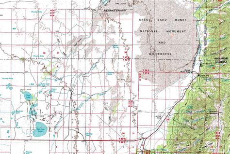 Great Sand Dunes Area Topo Map in the San Luis Valley of