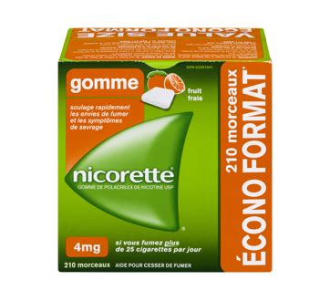 Gomme à la nicotine, 210 units, 4 mg, fruit frais