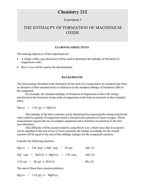 Enthalpy of Formation - MgO